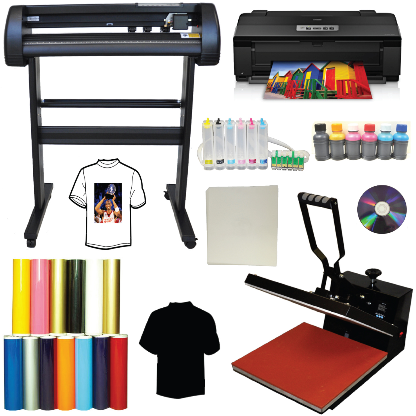 16x24 Heat Press 24 500g LaserPoint Vinyl Cutter Epson 1430 CISS