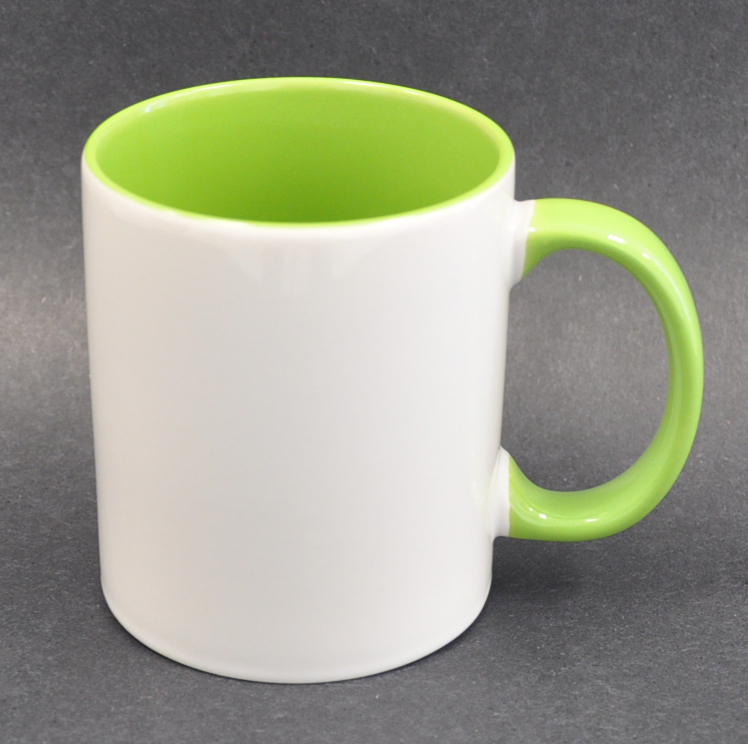 11oz Inner & Handle Green Color Sublimation Coated Mugs