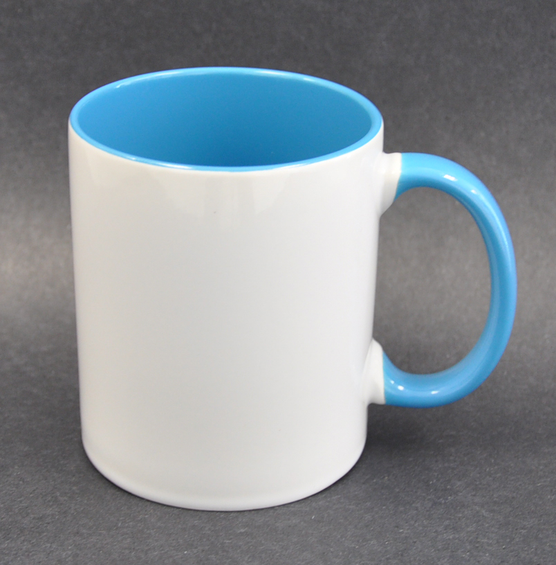 11oz Inner Handle Light Blue Color Sublimation Coated Mugs