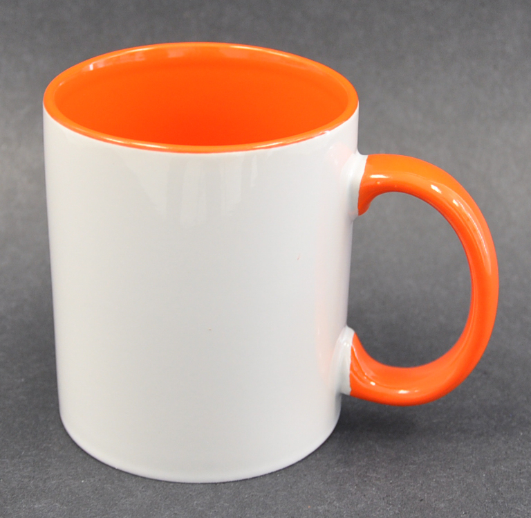 11oz Inner & Handle Orange Color Sublimation Coated Mugs