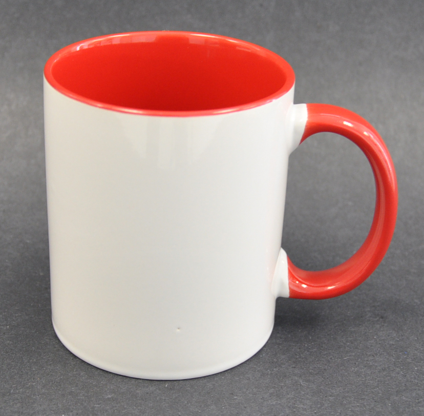 11oz Inner & Handle Red Color Sublimation Coated Mugs