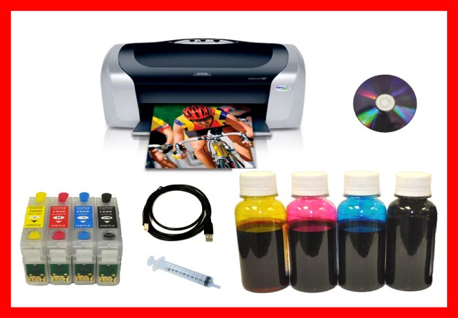 Epson C88 Printer+Refillable Cartridges+Dye Bulk Ink Package