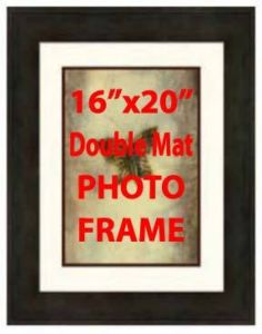 "16""x20"" Black, Double Mat Photo Frame, Open 11""x14"" - Click Image to Close"