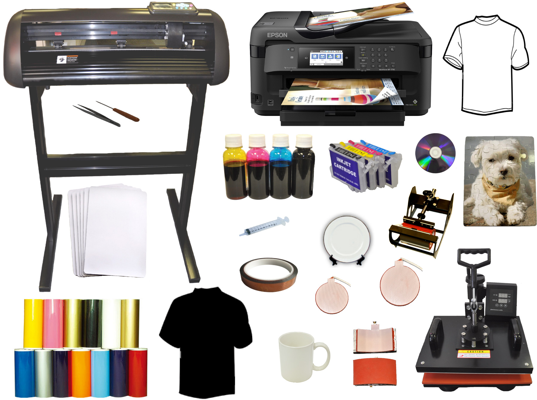 "8in1 Heat Press,28 inch 1000g Vinyl Cutter 13x19"" Large Printer"