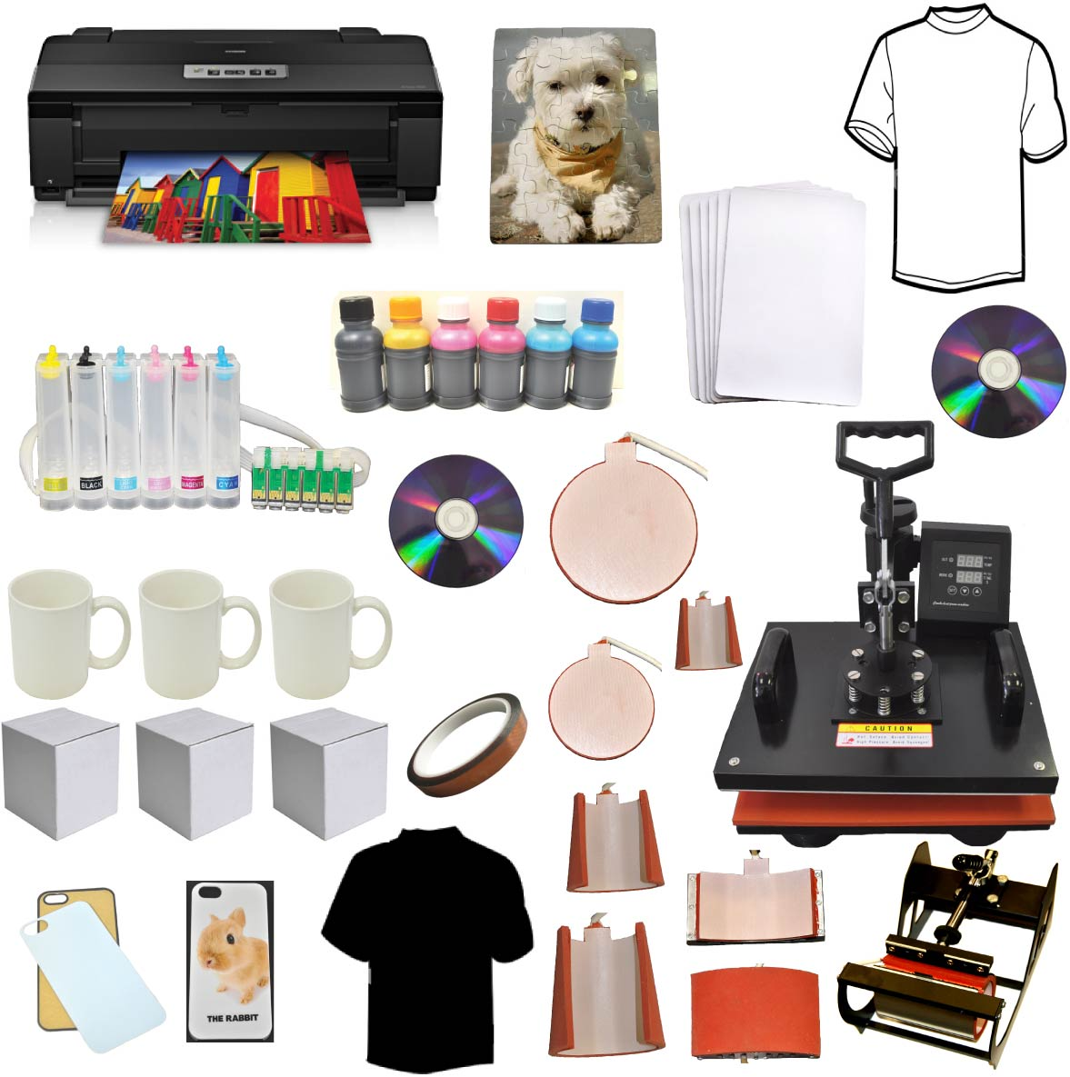 8in1 Sublimation Heat Press,Epson 1430 Printer,Sublimation CISS
