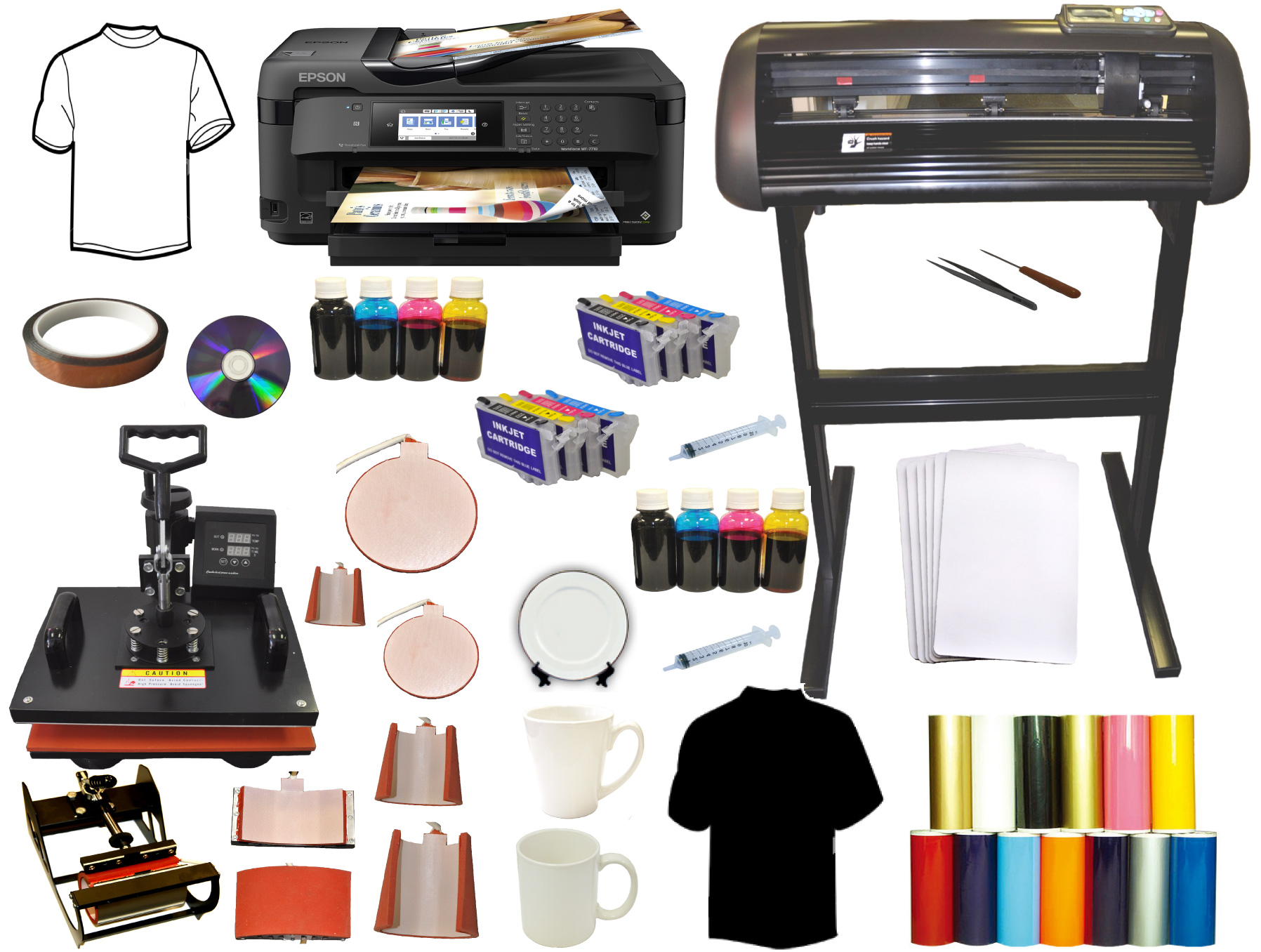 "8in1 Heat Press,28 inch 1000g Vinyl Cutter 13x19"" 2Inks Printer"
