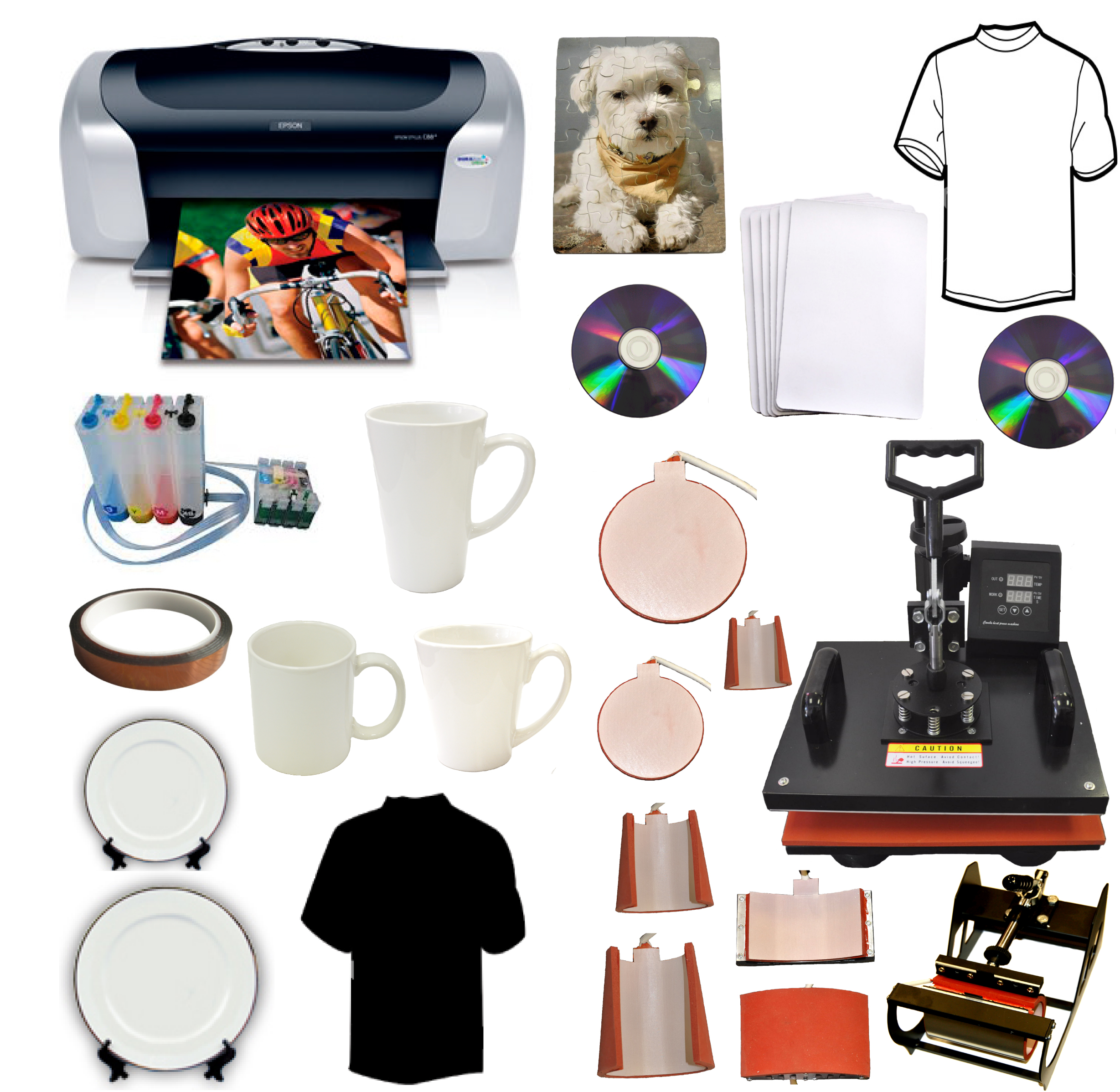 8in1 Sublimation Heat Press,Epson C88 Printer,CISS+400ml Dye Ink