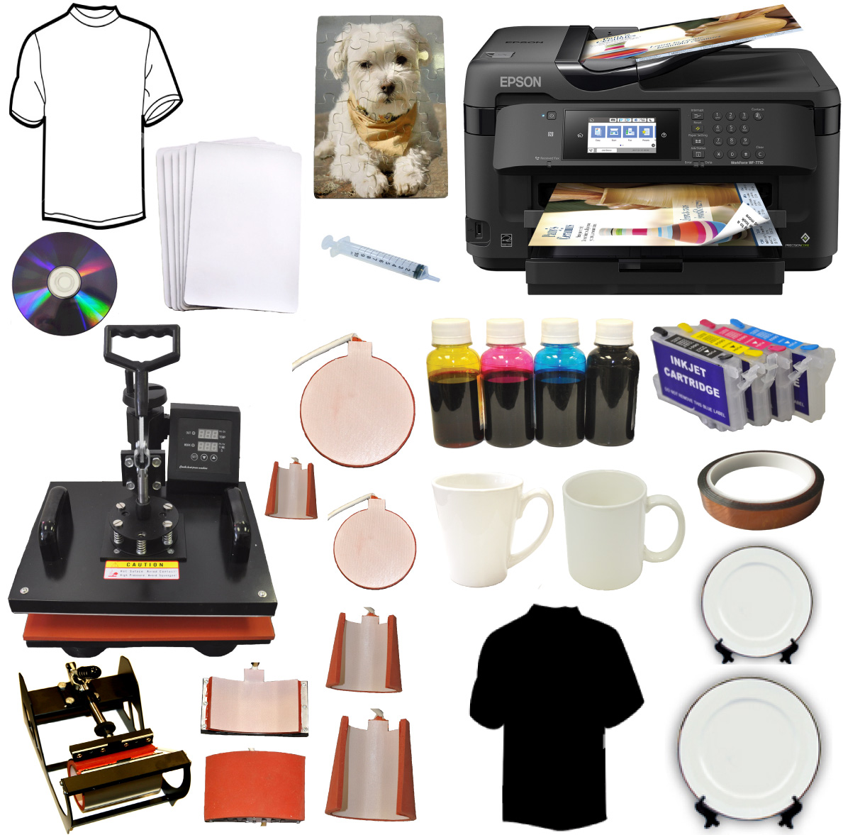8in1 Sublimation Heat Press,13x19 Wireless Sublimation Printer