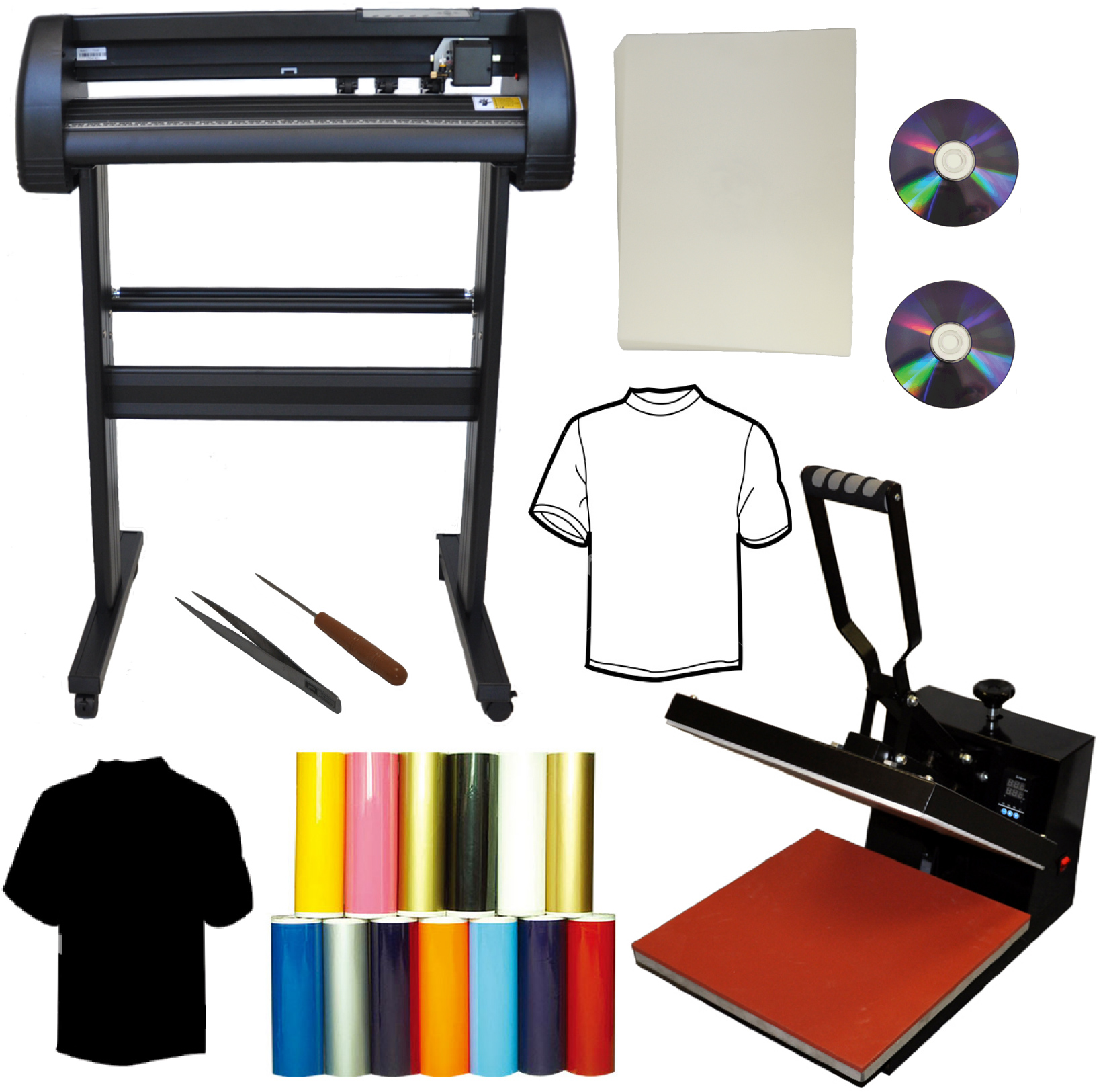 "28"" 500g Metal Laser Point Vinyl Cutter Plotter,15x15 Heat Press"