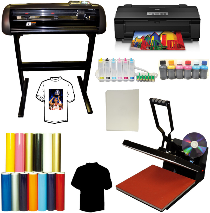 "16x24 Heat Press 24"" 1000g Vinyl Cutter Epson 1430 Printer CISS"