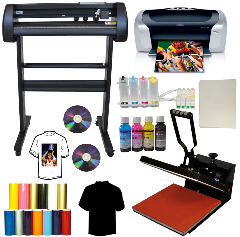 15x15 Heat Press, 24 500g LaserPoint Vinyl Cutter,Epson C88+ Kit