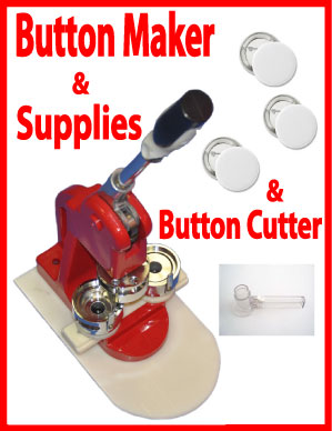 "Button Maker 1-3/4"" (44mm) Mold Press 100 Buttons, Circle Cutter"