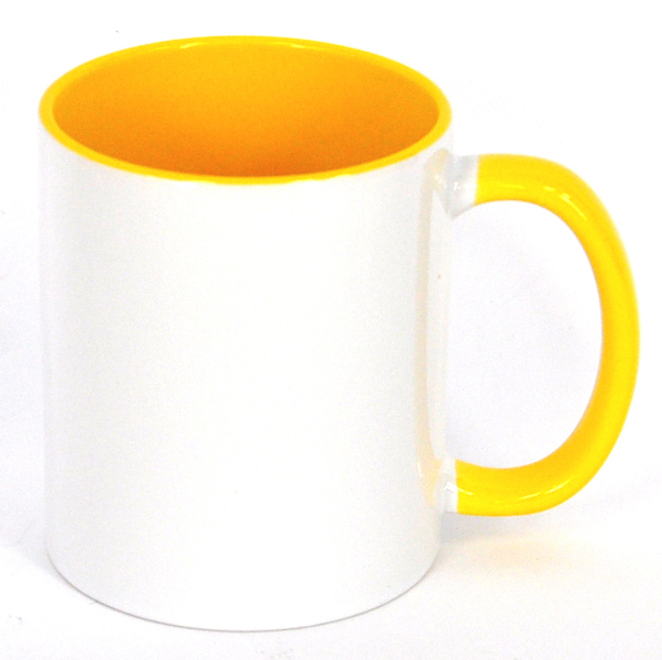 11oz Inner & Handle Yellow Color Sublimation Coated Mugs