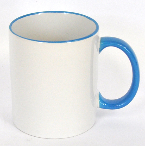 11oz Rim & Handle Light Blue Color Sublimation Coated Mugs