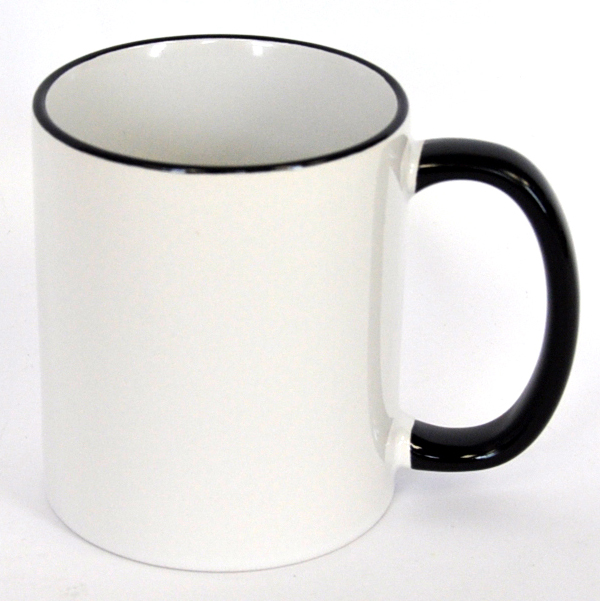 11oz Rim & Handle Black Color Sublimation Coated Mugs