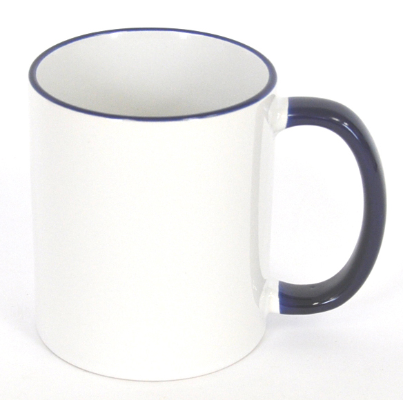 11oz Rim & Handle Blue Color Sublimation Coated Mugs