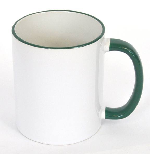 11oz Rim & Handle Green Color Sublimation Coated Mugs