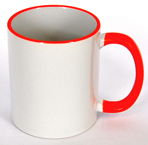 11oz Rim & Handle Orange Color Sublimation Coated Mugs