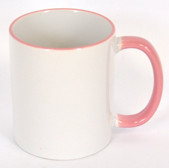 11oz Rim & Handle Pink Color Sublimation Coated Mugs