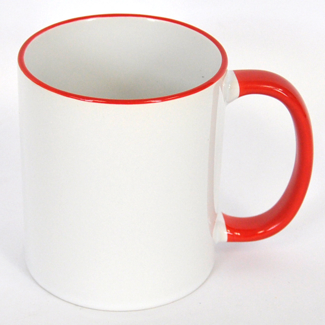 11oz Rim & Handle Red Color Sublimation Coated Mugs