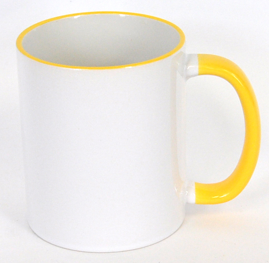 11oz Rim & Handle Yellow Color Sublimation Coated Mugs