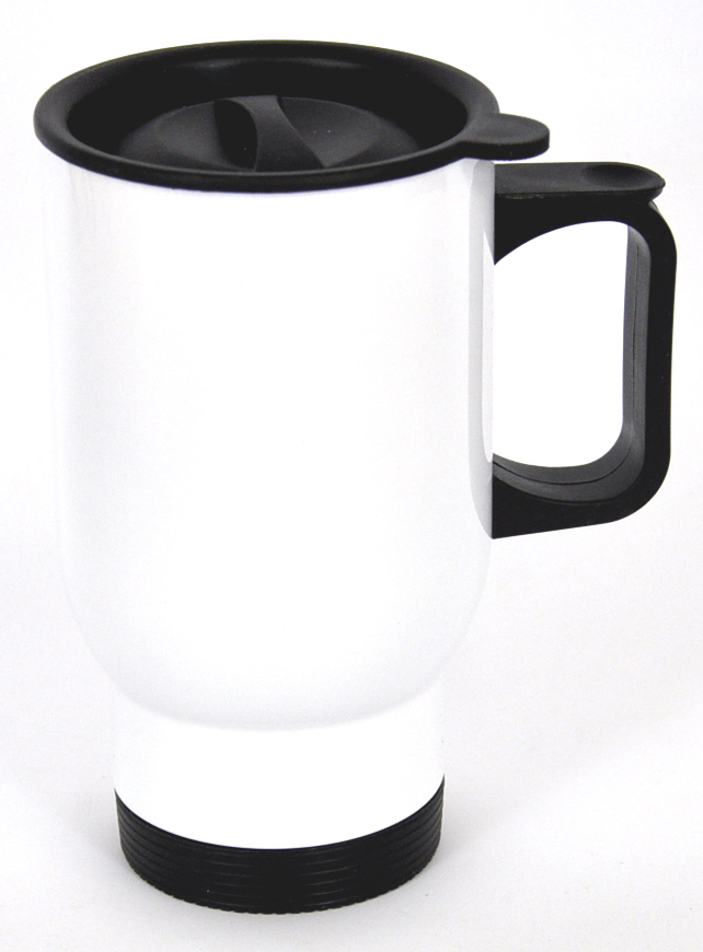 14oz Stainless White Sublimation Coated Travel Mug