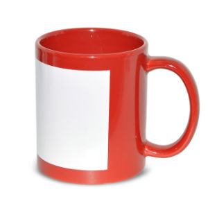 11oz Red White Patch Sublimation Coated Mugs